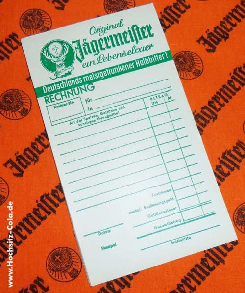 Jägermeister Rechnungsblock