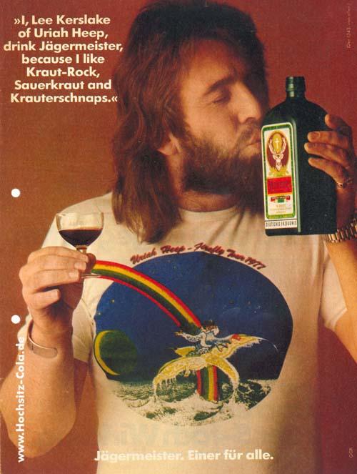 Lee Kerslake von Uriah Heep trinkt Jägermeister