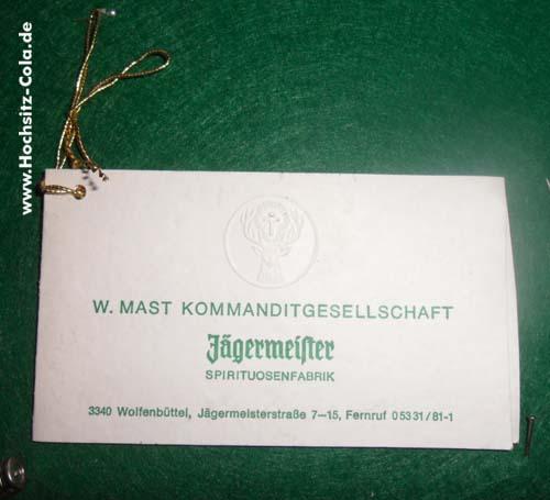 Jägermeister Empfehlungskarte
