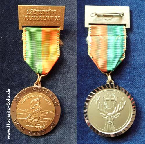 Medaille 2. Jägermeister Volkslauf des MTV Astfeld 1975