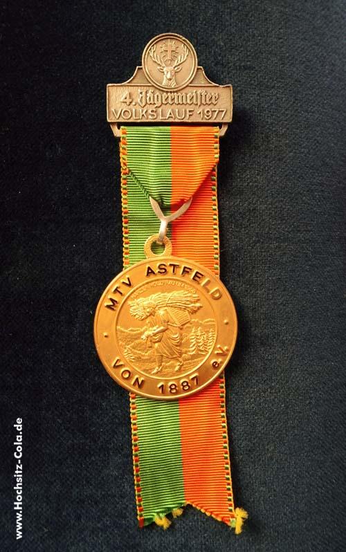 Medaillie 4. Jägermeister Volkslauf des MTV Astfeld 1977