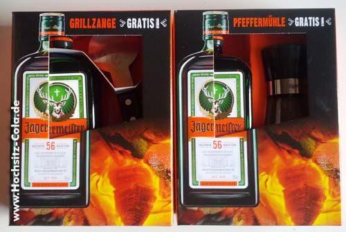 Aktuelle Geschenksets von Jägermeister: Pfeffermühle und Grillzange