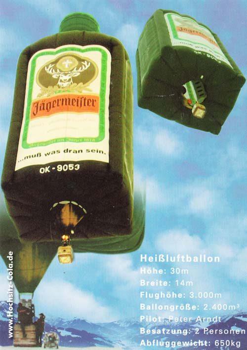 Jägermeister Postkarte Heißluftballon
